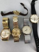 Collection of vintage watches to include: Zodiac, Mondia, Heno, Benrus & Longines