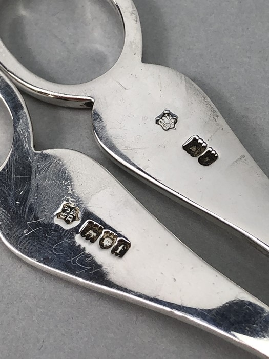 Pair of grape scissors hallmarked for London 1901 by Josiah Williams & Co (George Maudsley Jackson & - Image 5 of 5