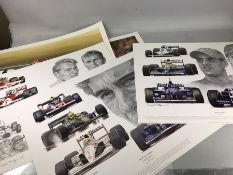 Collection of racing prints to include 'Tribute to Williams', 'Tribute to McLaren' etc (5)