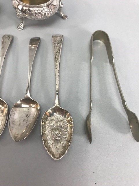 Collection of Hallmarked Silver items to include some Georgian spoons, Sugar nips, salts etc - Image 5 of 14