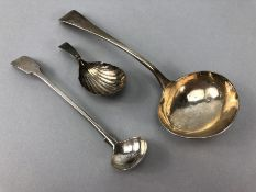 Collection of Georgian Silver flatware to include ladle by Richard Crossley