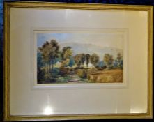 """PROJECT FOOD CHARITY LOT: FRAMED AND MOUNTED WATERCOLOUR """"Manor house hidden by its trees"""""""