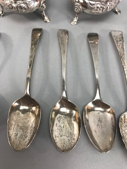 Collection of Hallmarked Silver items to include some Georgian spoons, Sugar nips, salts etc - Image 4 of 14