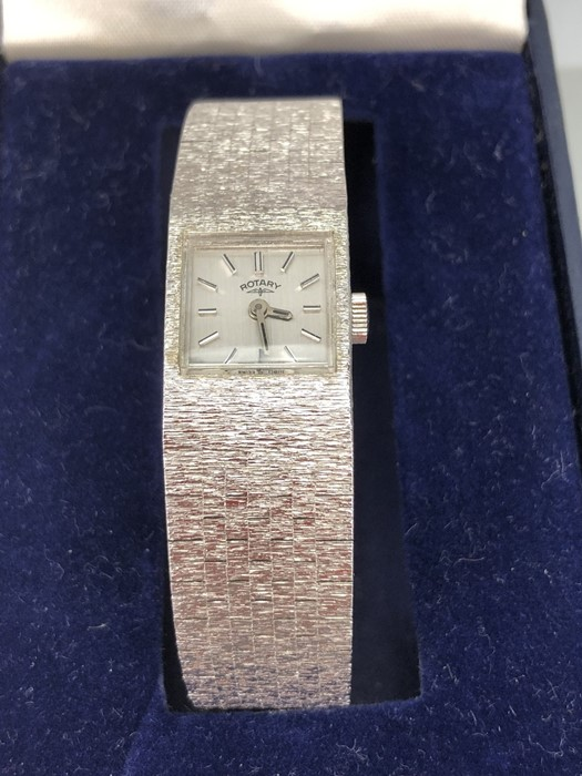 Rotary ladies Silver coloured watch with square face and numbered 212 to reverse in original box