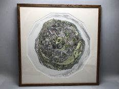 ROGER ST BARBE (BRITISH, CONTEMPORARY) coloured engraving: 'Colyton 1999-2000', limited edition 25/