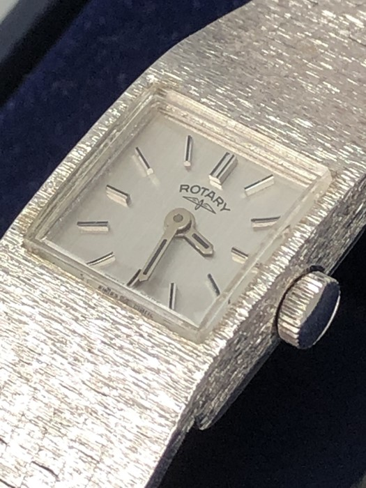 Rotary ladies Silver coloured watch with square face and numbered 212 to reverse in original box - Image 3 of 3