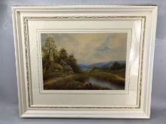 G JENNINGS, framed picture of a rural scene, signed lower left, approx 46cm x 32cm (inside mount)