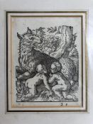 """Woodcut by Amman (Jost) depicting Romulus & Remus with Wolf. Label verso reads """"Original woodcut"""