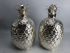 Pair of large silver plated ice buckets in the form of pineapples. With hinged lids. Approx. 35cm