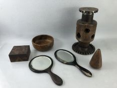 Collection of wooden items to include turned bobbin, carved wooden box and turned wooden