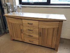 Large modern sideboard with four drawers and two cupboards under approx 160cm x 46cm x 89cm tall