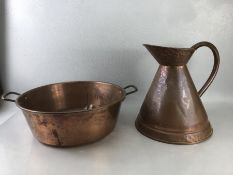 Copper jug and bowl, jug approx 30cm in height