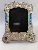 Silver enamelled art deco style photo frame.