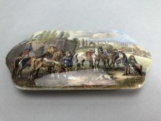 Prattware Rectangular lid depicting a hunting scene and marked Wouvermann Pinx