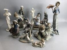 Large Collection of Figurines to include mostly Lladro and Coalport