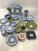 Collection of Wedgwood Blue Jasperware to include a Jasperware Mantle clock