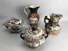 Four vintage Mason's & Ashworth Bros Oriental themed jugs and small Tureens (A/F)