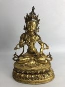 Large gilt bronze of a Chinese Buddha, approx 32cm in height