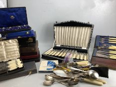 Large collection of boxed and unboxed flatware