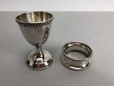 Birmingham Hallmarked Silver napkin ring and eggcup