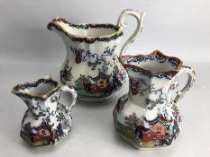 Three Mason's Oriental themed Jugs