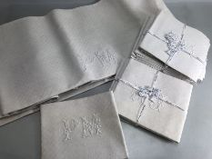 Textiles: Collection of French Table linen to include table cloth and napkins with applied