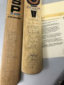 Sporting Autographs interest: Two signed cricket bats with Letter of Authentication and includes