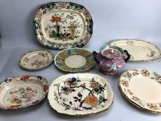 Collection of Vintage China to include Bowls Platters and a lidded pot by Fenton Stone Works CJM &