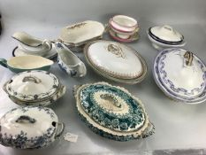 Vintage China selection of Tureens, sauce boats etc to include Chester; Royal Worcester; Copeland