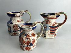 Three Mason's Ironstone China jugs with impressed marks to bases
