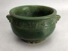 Chinese jade censer with carved detailing, approx 12cm in diameter and 8cm in height