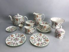 Collection of Minton bone china in the 'Haddon Hall' design to include teapot, large jug, small jug,