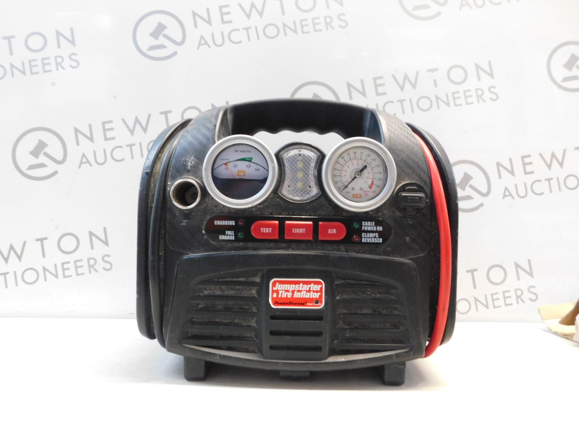 Lot 109 - 1 POWERSTATION PSX3 BATTERY JUMPSTARTER WITH BUILT IN LIGHT AND COMPRESSOR RRP £159