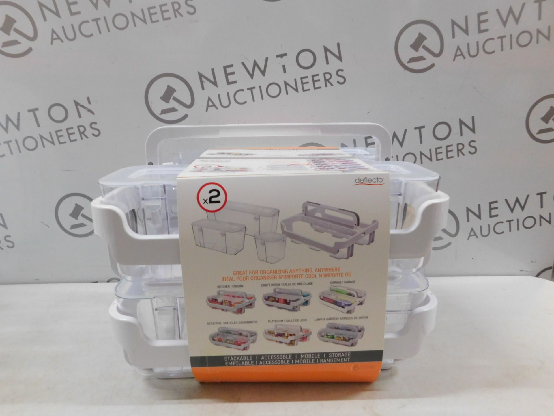 Lot 266 - 1 SET OF 2 DEFLECTO STACKABLE CADDY ORGANIZER RRP £39.99