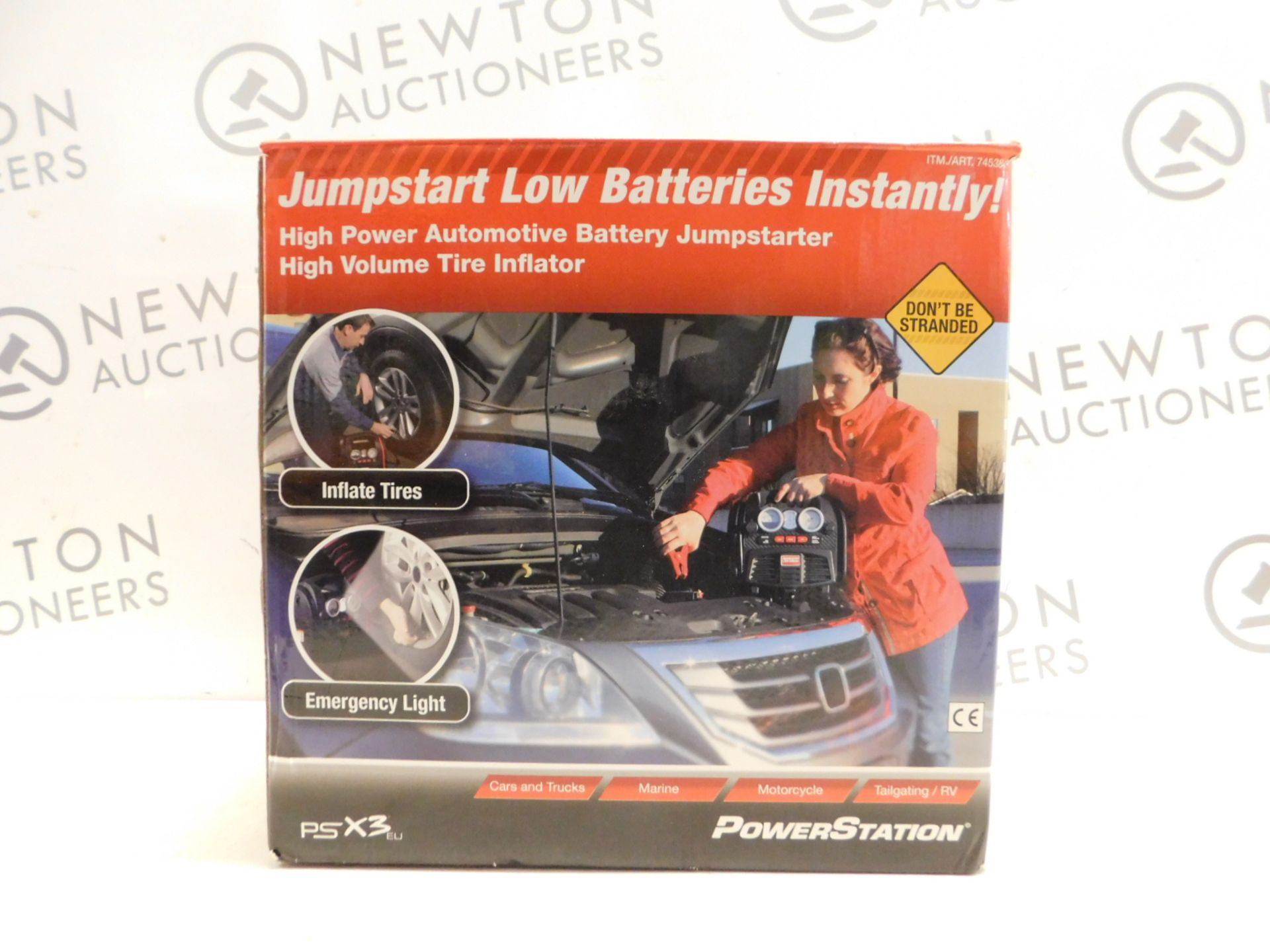 Lot 517 - 1 BOXED POWERSTATION PSX3 BATTERY JUMPSTARTER WITH BUILT IN LIGHT AND COMPRESSOR RRP £159