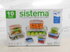 1 BOXED SISTEMA 10 PACK (APPROX) FOOD STORAGE SET RRP £44.99