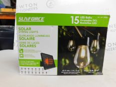 1 BOXED SUNFORCE 15 LED BULBS 10M SOLAR STRING LIGHTS RRP £49.99
