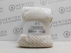 1 PACK OF LIFE COMFORT SILVER & CREAM OMBRE RIBBED PLUSH THROW RRP £39.99