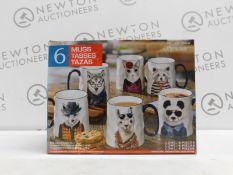 1 BOXED SIGNATURE 6PC ANIMAL STONEWARE MUG SET RRP £29.99