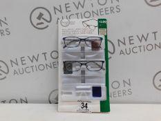 1 PACK OF DESIGN OPTICS READING GLASSES IN +2.00 STRENGTH RRP £19.99