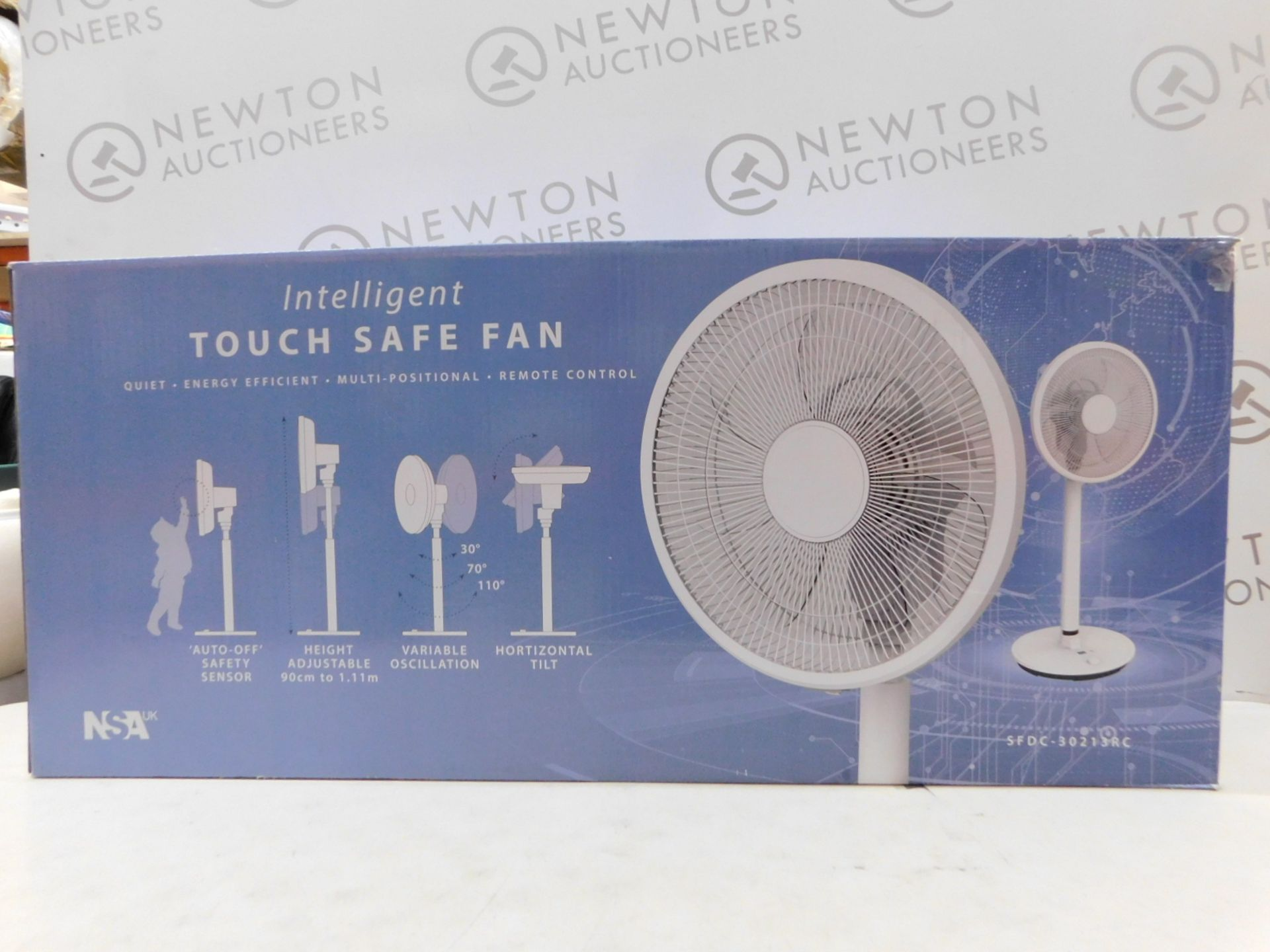 """Lot 186 - 1 BOXED NSA SFDC-30213RC 12"""" INTELLIGENT TOUCH SAFE PEDESTAL FAN RRP £139.99"""
