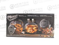 1 BOXED AMERICANA MASON CRAFT & MORE 2 PIECE VINTAGE STYLE TILTED GLASS JARS SET RRP £49.99