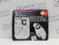 1 PACK OF 2 KIRKLAND SIGNATURE PREMIUM GOLF GLOVES SIZE MEDIUM/LARGE WITH BALL MARKER RRP £19.99