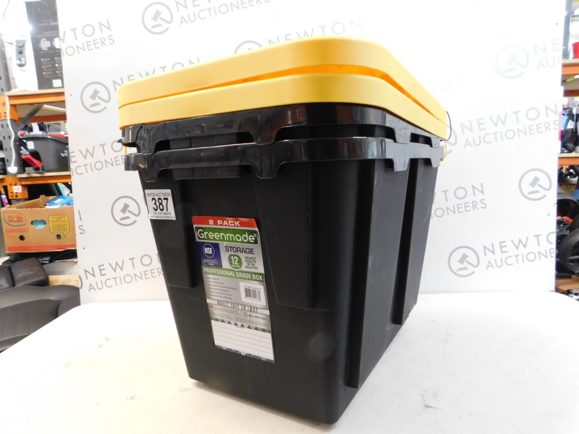 Lot 387 - 1 SET OF 2 GREENMADE PRO STORAGE CONTAINERS, 12-GALLON (YELLOW/BLACK) RRP £29