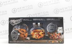 1 BOXED 3PC AMERICANA MASON CRAFT & MORE VINTAGE STYLE TILTED GLASS JARS SET RRP £49.99