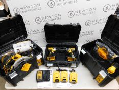 1 DEWALT DCK523P3T 18V XR 5-PIECE POWERTOOL KIT CONSISTS OF: DCD791 COMPACT BRUSHLESS DRILL