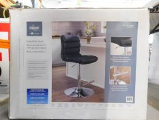 1 BOXED BAYSIDE FURNISHINGS BLACK FAUX LEATHER GAS LIFT BAR STOOL RRP £119.99