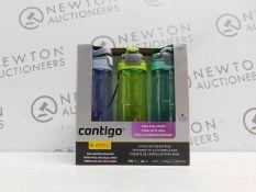 1 BOXED SET OF 3 AVEX CONTIGO AUTOSEAL DRINKS BOTTLES RRP £44.99