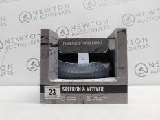 1 BOXED SAFFRON & VETIVER LARGE FRAGRANCED CANDLE RRP £39 (GLASS JAR BROKEN)