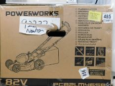 1 BOXED POWERWORKS 82V CORDLESS 46CM SELF PROPELLED LAWN MOWER RRP £599